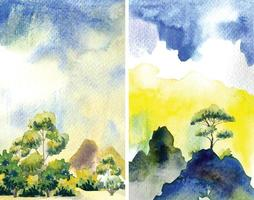 Two Style Painting With Mountain Sky Illustration vector