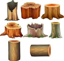 Different Types of Tree trunk Illustration vector