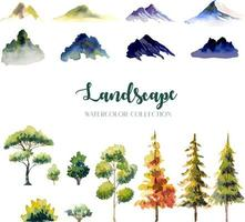 Four Style Time of Day Watercolor Landscape Tree and Mountain Painting Illustration vector