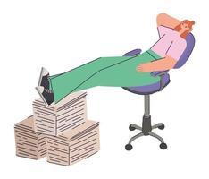 sitting woman procrastinating vector