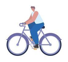 Hombre sobre una bicicleta de color púrpura sobre un fondo blanco. vector