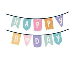 garland with happy birthday lettering vector