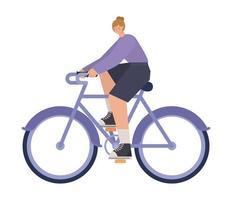 Mujer sobre una bicicleta de color púrpura sobre un fondo blanco. vector