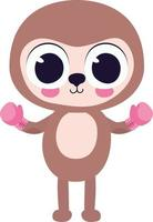 cute sloth with box gloves vector