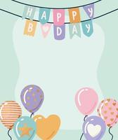 happy birthday garland with balloons vector