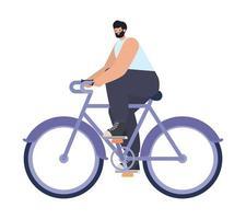 hombre sobre una bicicleta morada vector