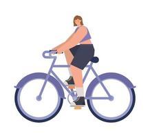 mujer sobre una bicicleta morada vector