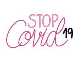 linda pegatina sobre letras stop covid19 vector