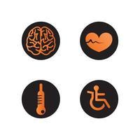 health logo care, BRAIN HEART BEAT medical, medicine, meditation and hospital design icon vector