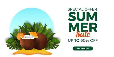 Summer sale offer banner promotion with coconut drink on the sand beach with tropical leaves vector