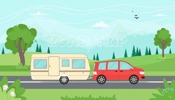 Time to travel, road trip concept. Travelling by car with travel trailer in the mountains. Spring or summer landscape. Vector illustration in flat style