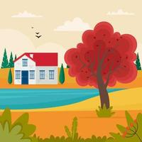 Autumn landscape with cute small house on hill. Cute vector illustration in flat style
