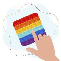 Trendy pop it fidget in Rainbow colors. Hand play with Sensory fidget antistress toy. Vector illustration in flat style