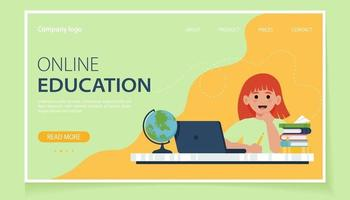 Online education for children. School children studying with computer and books. Vector illustration in flat style for website, landing page, banner, flyer