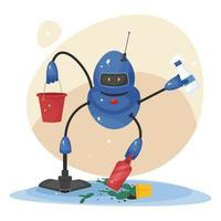 Robot cleaner. Vacuum cleaner for floor cleaning, window cleaning and room cleaning. New concept of robotic technologies. Cute vector illustration in flat style, Isolated on white background