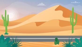 paisaje desértico con dunas de arena y cactus. ilustración vectorial en estilo plano vector
