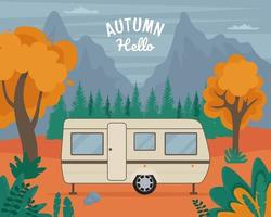 Travel Trailer in autumn. Road trip concept. Vector illustration in flat style
