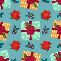 Christmas seamless pattern with gift box and plants. Vector isolated illustration