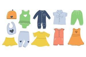 Big set of hand drawn baby clothes. Nursery design. Flat illustration. vector