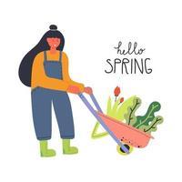 chica con carretilla. texto hola primavera. concepto de jardinería. dibujado a mano ilustración plana. vector