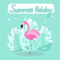 Pink flamingo poster for summer holidays, flamingos on a background of palm leaves. Exotic bird, vector illustration in flat style