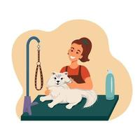 Grooming for pets, girl shears a dog, vector illustration in flat style, cartoon