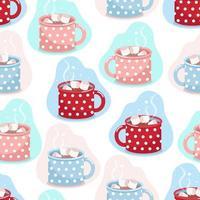 Taza de cacao de patrones sin fisuras, tazas de diferentes colores en lunares blancos con cacao y malvaviscos, impresión vectorial en estilo plano vector