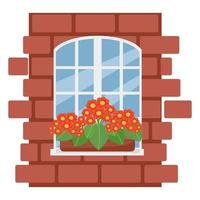 Box with flowers on the window, brick wall with white window, vector illustration in flat style, cartoon, isolated