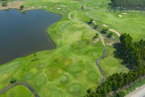 Aerial view from flying drone of golf course photo