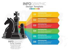 Diseño de plantilla infográfica con 6 opciones de color. vector