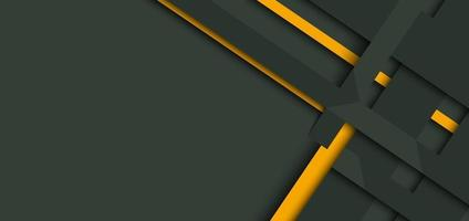 Banner web design template yellow and green geometric stripes overlapping with shadow on dark background. vector