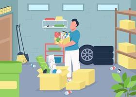 Ilustración de vector de color plano de limpieza de garaje