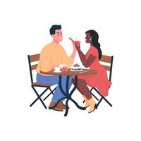 Man proposing engagement to woman flat color vector detailed characters