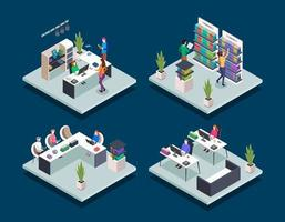 Modern book library isometric color vector illustrations set. People in bookstore. Student in university computer class. School pupils reading. Public library 3d concept isolated on blue background