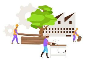 Hardwood timber production flat vector illustration. Industrial wood. Forest exploitation. Logging. Furniture manufacturing. Indonesian business. Isolated cartoon concept on white background