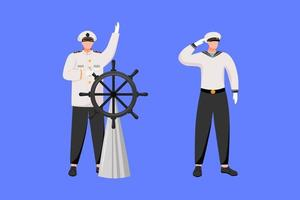 Maritime professions flat vector illustration. Navigator with helm. Cruise liner. Marine occupation. Captain and seafarer isolated cartoon characters on blue background