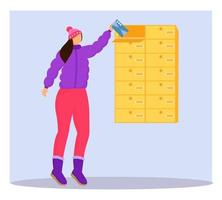 Woman in winter clothes receives letter flat color vector illustration. Getting post from mailbox. Delivery services. Taking card from personal postbox isolated cartoon character on blue background