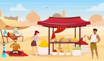 Turkish bazaar flat color vector illustration. Arab street market. Egyptian marketplace with souvenirs for tourists. People buying spices faceless cartoon characters with trade tents on background