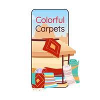 Colorful carpets cartoon smartphone vector app screen. Persian rugs store. Mobile phone display with flat character mockup. Eastern bazaar, arabian souk souvenirs application telephone interface