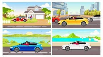 People with automobiles flat color vector illustrations set. Young adults driving cars 2D cartoon characters. Couple washing hatchback, cleaning family car. Man and woman driving sedan