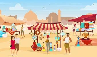 Egyptian bazaar flat vector illustration. Muslim vendors at eastern marketplace. Tourists choosing souvenirs, handmade ceramics and carpets faceless cartoon characters with desert town on background