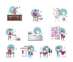 Conjunto de ilustraciones vectoriales planas de producción de carne y cerveza artesanal. fabricación de muebles. industria del calzado y la confección. artículos hechos a mano. trabajadores de fabrica. carnicería. personajes de dibujos animados aislados vector