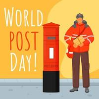 World post day social media post mockup. Traditional uniform of UK. Advertising web banner design template. Social media booster, content layout. Promotion poster, print ads with flat illustrations vector