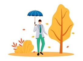 Man in gray jacket flat color vector faceless character. Rainy weather. Autumn nature. Fashionable male with umbrella. Wet day. Walking caucasian guy isolated cartoon illustration on white background