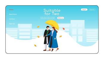 Suitable for two umbrella landing page flat color vector template. Walking couple in coats homepage layout. Wet day one page website interface with cartoon character. Rainy weather web banner, webpage
