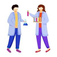 Scientists in lab coats flat vector illustration. Studying medicine, chemistry. Conducting experiment. Chemists with test tubes, laboratory flask isolated cartoon characters on white background