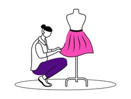 Fashion designer atelier flat contour vector illustration. Creating exclusive skirts at workshop. Designing, sewing clothes isolated cartoon outline character on white background. Simple drawing