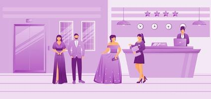 Hotel guests in waiting area flat vector illustration. Resort manager talking with clients at reception. Receptionist at front desk. People in evening attires in lobby cartoon characters