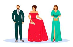 People in black tie suits flat color vector illustration. Hotel guests in evening dress code. Official event. Man and women in formal outfits isolated cartoon characters on white background