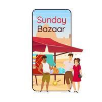Sunday bazaar cartoon smartphone vector app screen. Arabic souk. Egyptian souvenirs for tourist. Mobile phone display with flat character design mockup. Flea market application telephone interface